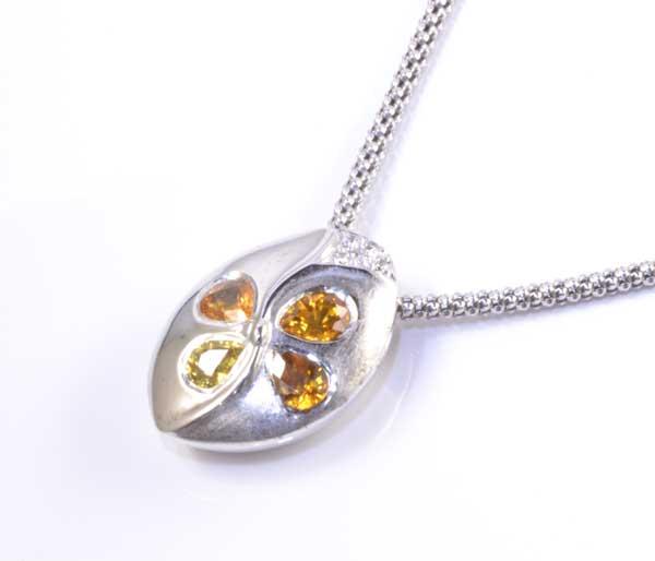 K18WG サファイア 1.23ctダイヤモンド 0.05ct ホワイトゴールド ペンダントネックレス《送料無料!》
