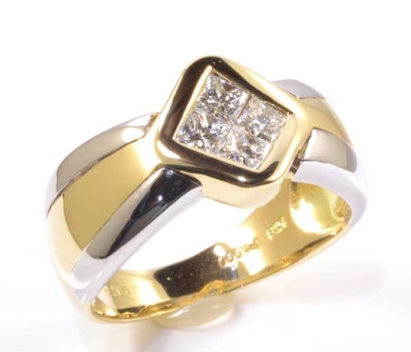 K/P プリンセスカットダイヤモンド 0.60ct 18金 プラチナ リング《送料無料!》