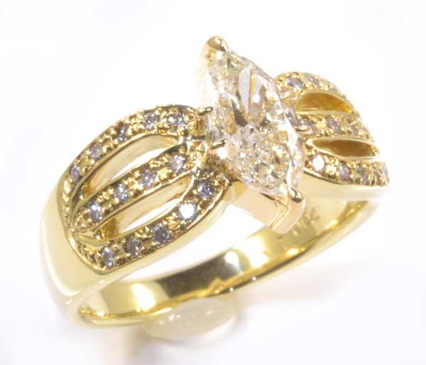 K18 マーキスカットダイヤモンド 1.004ct脇石ダイヤ0.17ct 18金 リング《送料無料!》