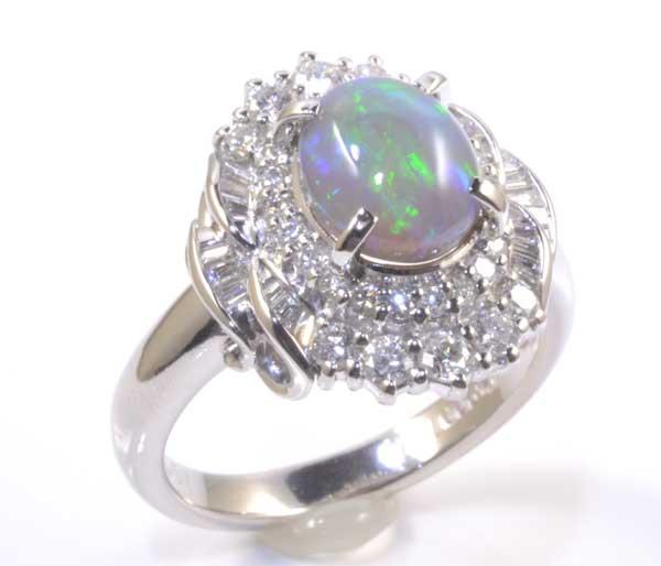 Pt ブラックオパール 1.68ctダイヤモンド0.67ct プラチナ リング《送料無料!》