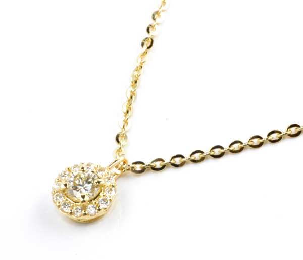 K18 ダイヤモンド 0.20ctダイヤ 0.11ct 18金 ペンダントネックレス《送料無料!》