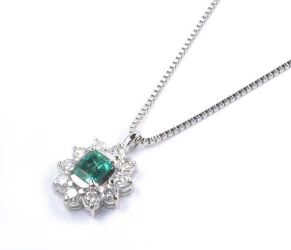 Pt エメラルド 0.43ctダイヤモンド 0.40ct プラチナ ペンダントネックレス《送料無料!》
