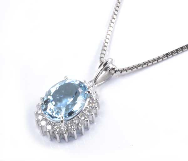 Pt アクアマリン 3.41ctダイヤモンド 0.32ct プラチナ ペンダントネックレス《送料無料!》