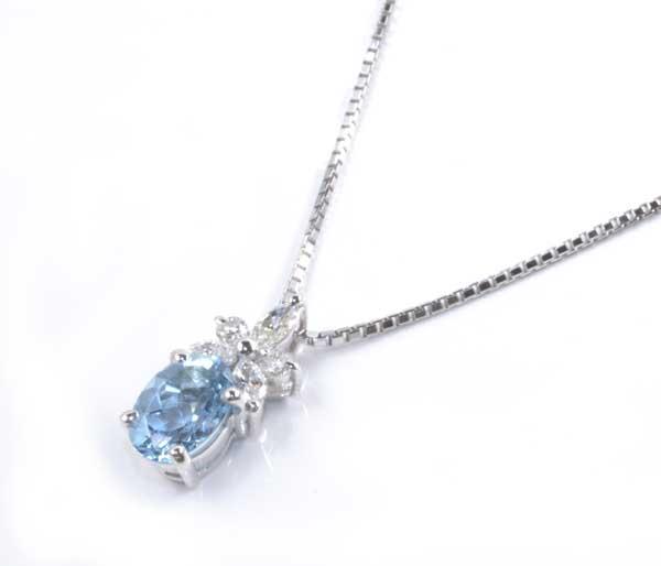 Pt アクアマリン 0.66ctダイヤモンド 0.22ct プラチナ ペンダントネックレス《送料無料!》