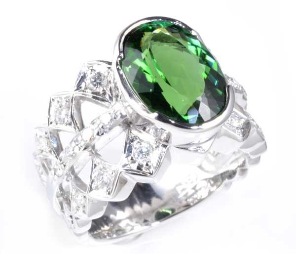 Pt グリーントルマリン 3.313ctダイヤモンド0.32ct プラチナ リング《送料無料!》