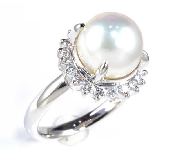 Pt アコヤ真珠 9.6mmダイヤモンド 0.40ct プラチナ リング《送料無料!》