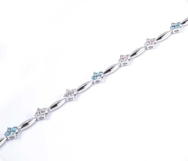 K18WG ピンクダイヤモンド 0.64ctブルートリートメントダイヤ 0.36ct ホワイトゴールド ブレスレット《送料無料!》