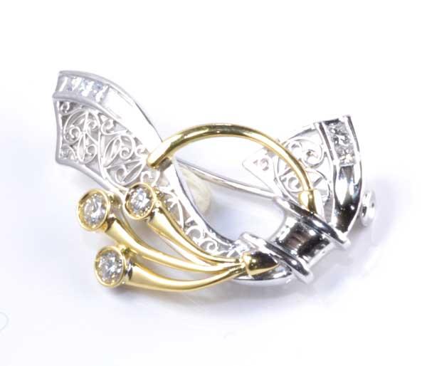 P/K ダイヤモンド 0.423ctプラチナ 18金 ブローチ《送料無料!》