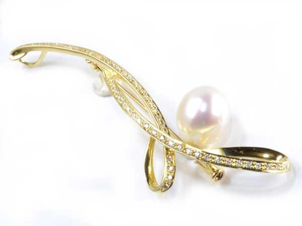 K18 南洋真珠 10.4mmダイヤ0.41ct 18金 ペンダントブローチ《送料無料!》