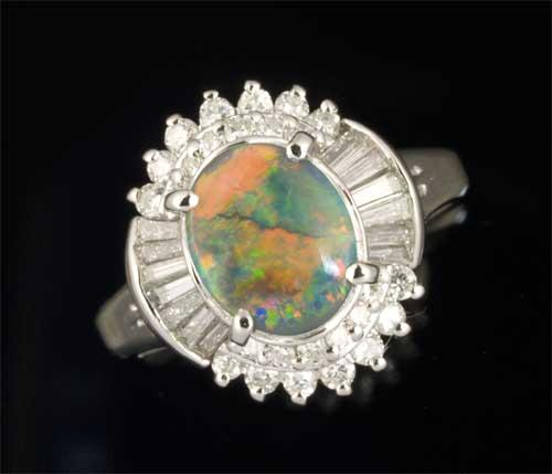 Pt ブラックオパール 1.112ctダイヤモンド0.63ct プラチナ リング《送料無料!》