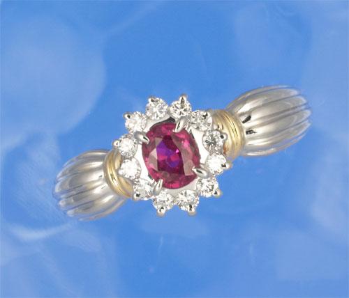 P/K ルビー 0.418ctダイヤモンド0.19ct プラチナ 18金 リング《送料無料!》