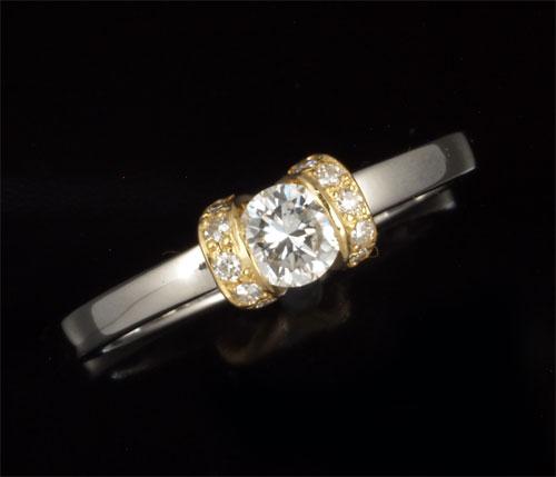P/K ダイヤモンド 0.20ct脇石ダイヤ0.05ct プラチナ 18金 リング《送料無料!》