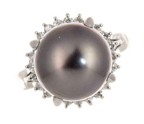 Pt タヒチパール 11.0mmダイヤモンド0.31ct プラチナ リング《送料無料!》