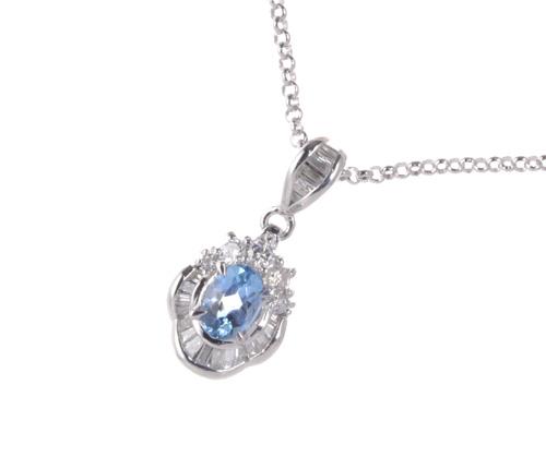 Pt アクアマリン 0.55ctダイヤモンド 0.40ct プラチナ ペンダントネックレス《送料無料!》