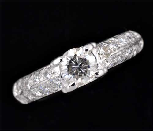 Pt ダイヤモンド 0.524ct G-SI1 Good脇石ダイヤ0.436ct プラチナ リング《送料無料!》