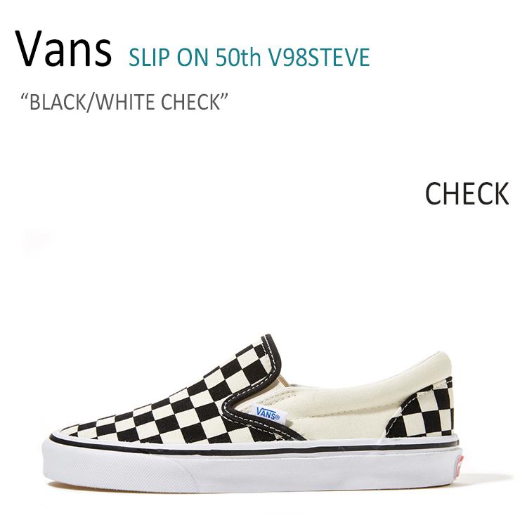 Vans SLIP ON 50th/BLACK/WHITE/CHECK【バンズ】【スリップオン】【V98STEVE】 シューズ