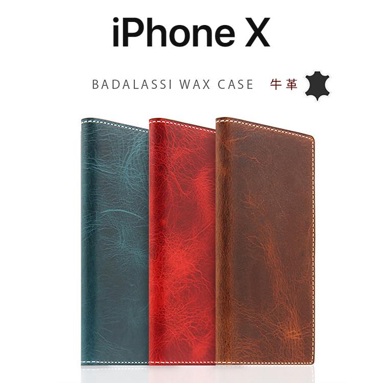 iPhoneX ケース SLG Design Badalassi Wax case 手帳型 本革 エスエルジー バダラッシーワックスケース アイフォンX カバー レザー お取り寄せ