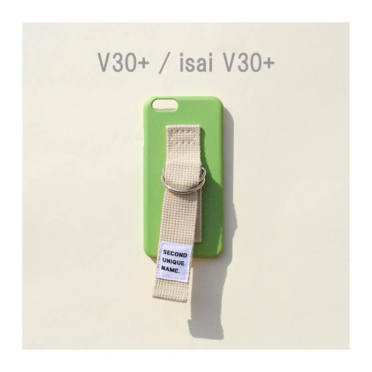 V30+ ケース isai v30+ ケース isai v30+ LGV35 韓国 ベルト ケース SECOND UNIQUE NAME LIGHT GREEN IVORY 正規品 お取り寄せ