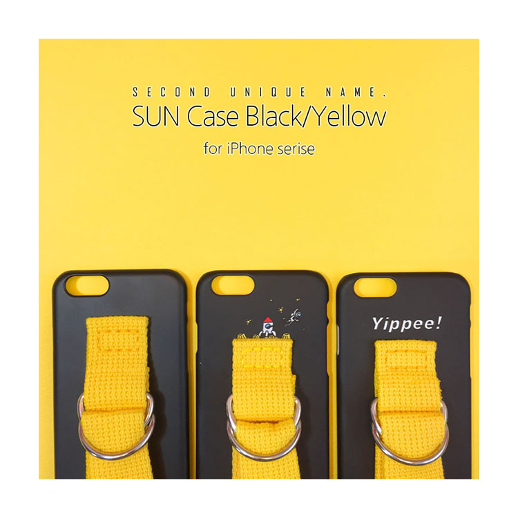 iPhone11 Pro ケース iPhone11 ケース iPhone11 Pro Max ケース iPhoneXS ケース iPhoneXR ケース iPhone8 ケース 韓国 ベルト iPhone8 Plus iPhoneX SECOND UNIQUE NAME YOUNG BOYZ SUN CASE 正規 Black Yellow アイフォン お取り寄せ