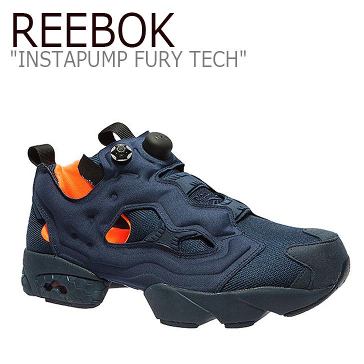 Reebok リーボック INSTAPUMP FURY TECH ポンプフューリー ネイビー 中古 海外直輸入USED品 当店限定販売 シューズ 100%品質保証! オレンジ 未使用品 V63499