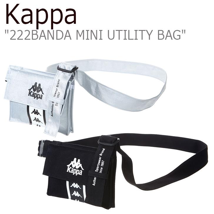 カッパ クロスバッグ Kappa メンズ レディース 222BANDA MINI UTILITY BAG ミニ ユーティリティー バッグ SILVER BLACK シルバー ブラック KKBA225UN バッグ