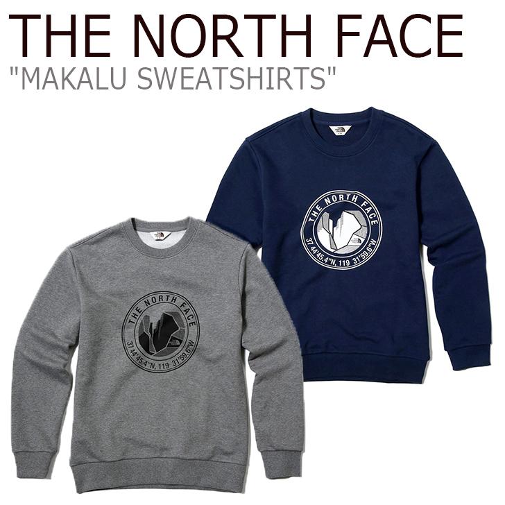 ノースフェイス スウェット THE NORTH FACE メンズ レディース MAKALU SWEATSHIRTS マカル スウェットシャツ HEATHER GRAY NAVY グレー ネイビー NM5MJ53K/M ウェア 【中古】未使用品