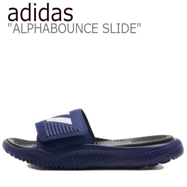 アディダス サンダル adidas メンズ レディース ALPHABOUNCE SLIDE アルファバウンス スライド BLUE ブルー F34774 シューズ 【中古】未使用品
