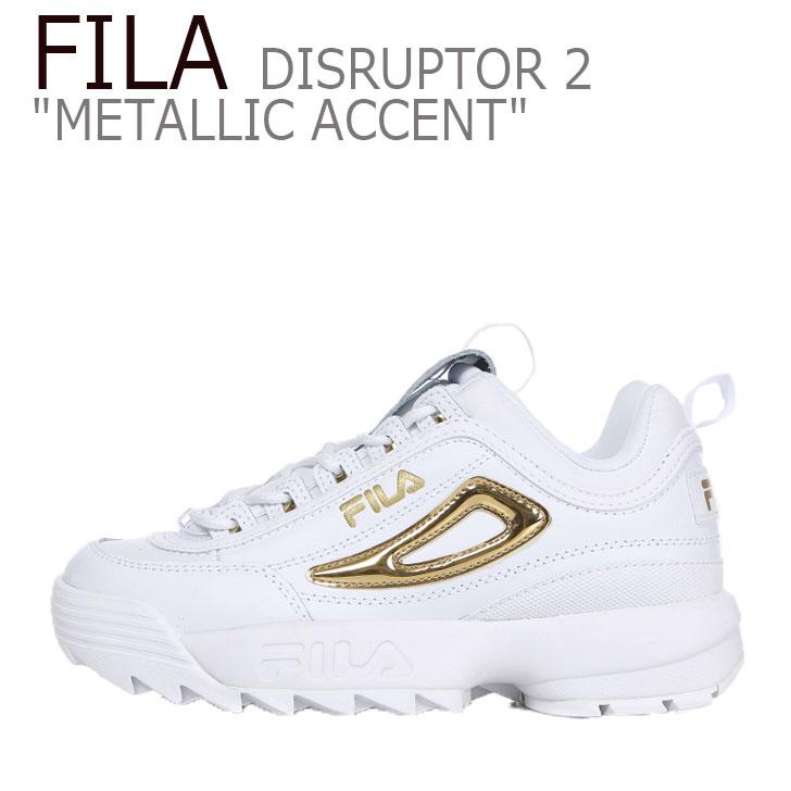 フィラ ディスラプター スニーカー FILA レディース DISRUPTOR 2 METALLIC ACCENT ディスラプター2 メタリック アクセント WHITE GOLD ホワイト ゴールド FS1HTB3477F シューズ