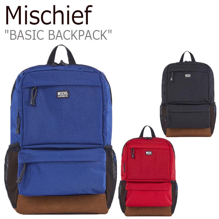 ミスチーフ リュック MISCHIEF レディース BASIC BACKPACK ベーシック バックパック RED レッド BLACK ブラック BLUE ブルー MCF ACC 19FW-00033RD/BL/BK バッグ