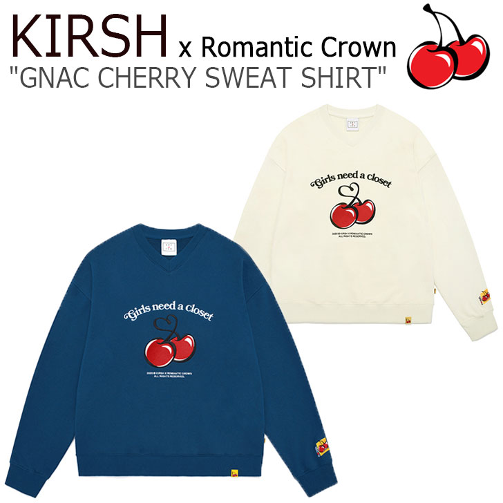 キルシー トレーナー KIRSH メンズ レディース KIRSH X RMTC GNAC CHERRY SWEAT SHIRT キルシー X ロマンティッククラウン チェリー スウェットシャツ OATMEAL オートミール BLUE ブルー 3201TH201233F ウェア
