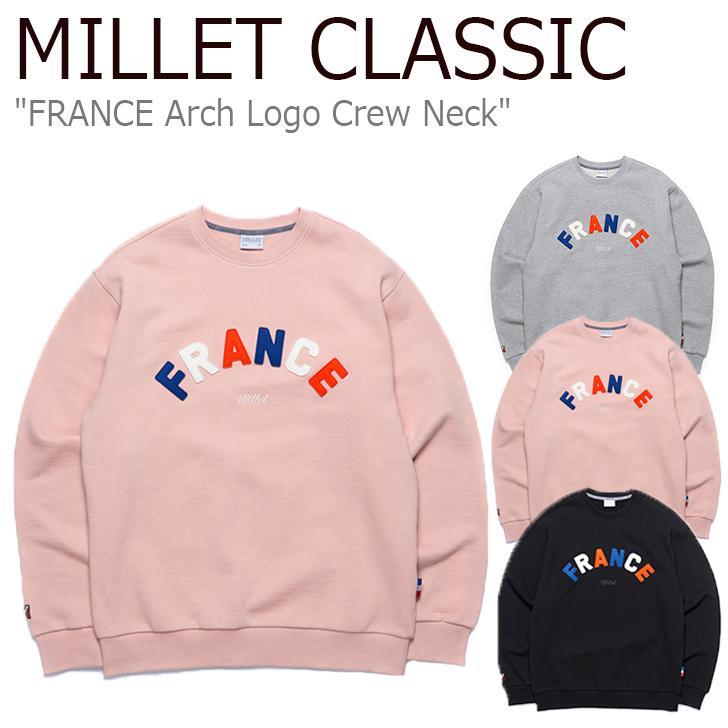 ミレークラシック トレーナー MILLET CLASSIC メンズ レディース FRANCE Arch Logo Crew Neck フランス アーチロゴ クルーネック スウェット PINK ピンク GRAY グレー BLACK ブラック ZMOST912 ウェア