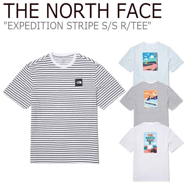 ノースフェイス Tシャツ THE NORTH FACE メンズ レディース EXPEDITION STRIPE S/S R/TEE エクスペディション ストライプ ショートスリーブ ラウンドTEE 全3色 NT7UL08A/B/C ウェア 【中古】未使用品