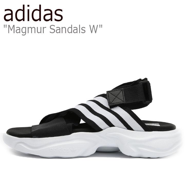 アディダス サンダル adidas レディース Magmur Sandals W マグムーア サンダルW BLACK ブラック WHITE ホワイト EF5863 シューズ【中古】未使用品