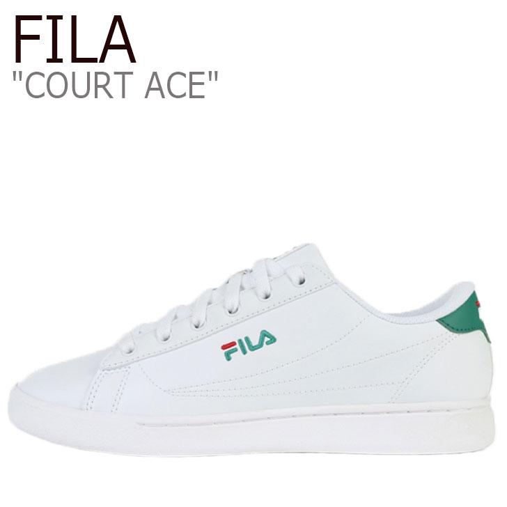 フィラ スニーカー FILA メンズ レディース COURT ACE コート エース WHITE ホワイト GREEN グリーン 1TM00645-116 シューズ