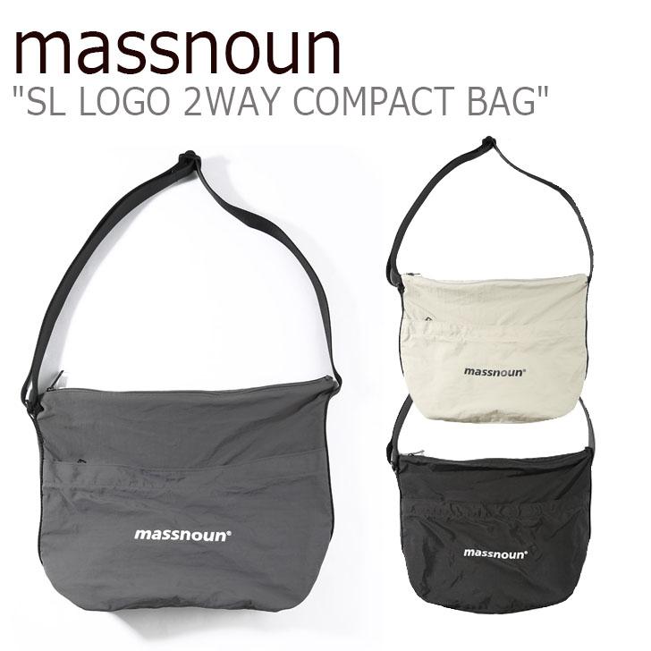 マスノウン クロスバッグ massnoun メンズ レディース SL LOGO 2WAY COMPACT BAG ロゴ ツーウェイ コンパクト バッグ BEIGE ベージュ DARK GREY ダークグレー BLACK ブラック MSNAB003-DG/BG/BK バッグ