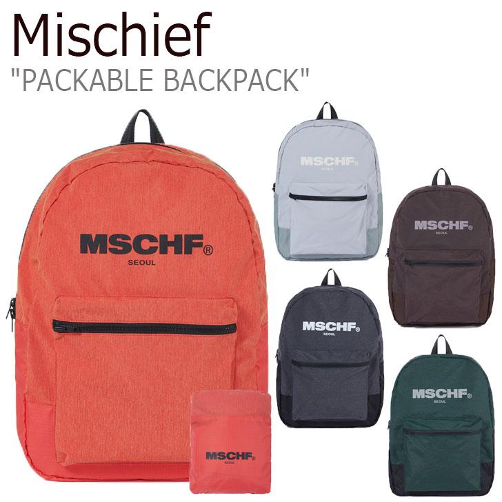 ミスチーフ リュック MISCHIEF レディース PACKABLE BACKPACK パッカブル バックパック 全5色 MCF ACC 20SS-0051OR/LGY/DGRBK/BR/DGYBK バッグ