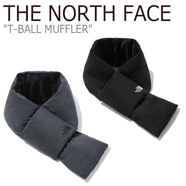 チャコール CHARCOAL BLACK NORTH マフラー マフラー ノースフェイス レディース 【中古】未使用品 メンズ THE MUFFLER T-BALL FACE ACC ブラック NA5IL51A/B ティーボール