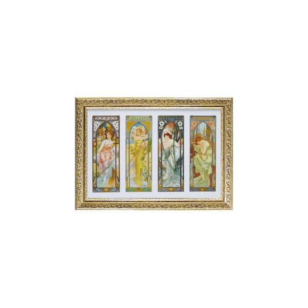 油絵風 絵画 看板ART FRAMES アルフォンス ミュシャ 時の流れ AM-18001【送料無料】