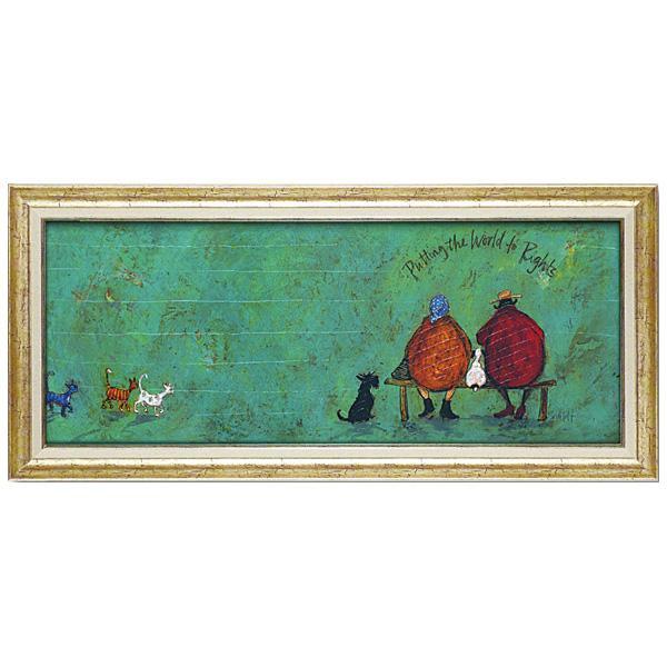 壁掛け インテリア 絵ユーパワー アートフレーム サム トフト「イヌネコ世界平和評議会」 ST-15016【送料無料】