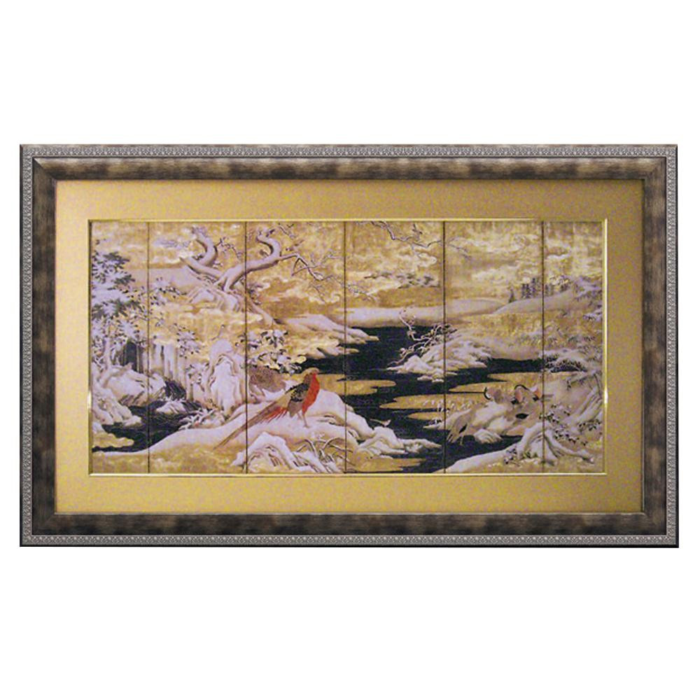 鳥 額 絵ユーパワー 和風フレーム「赤い鳥と山水」 AM-23004【送料無料】