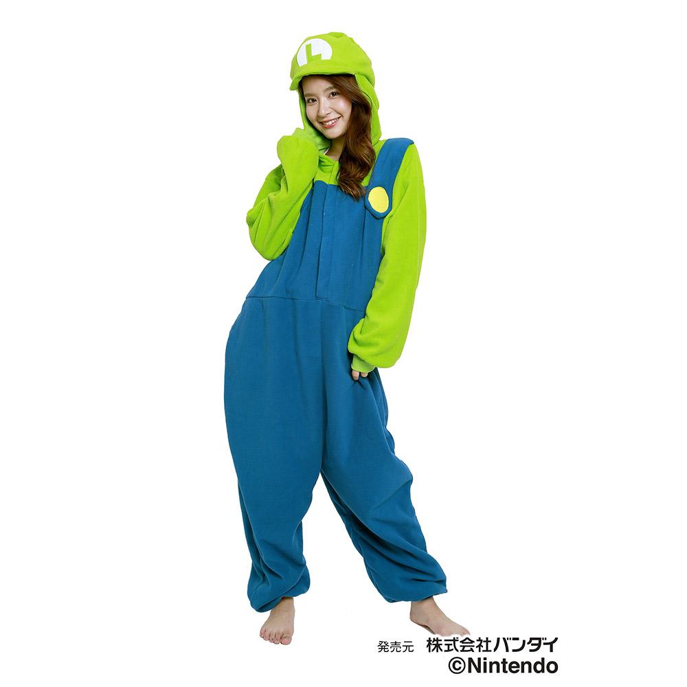 サザック フリース着ぐるみ スーパーマリオ ルイージ BAN-058 フリーサイズ(大人用)【送料無料】