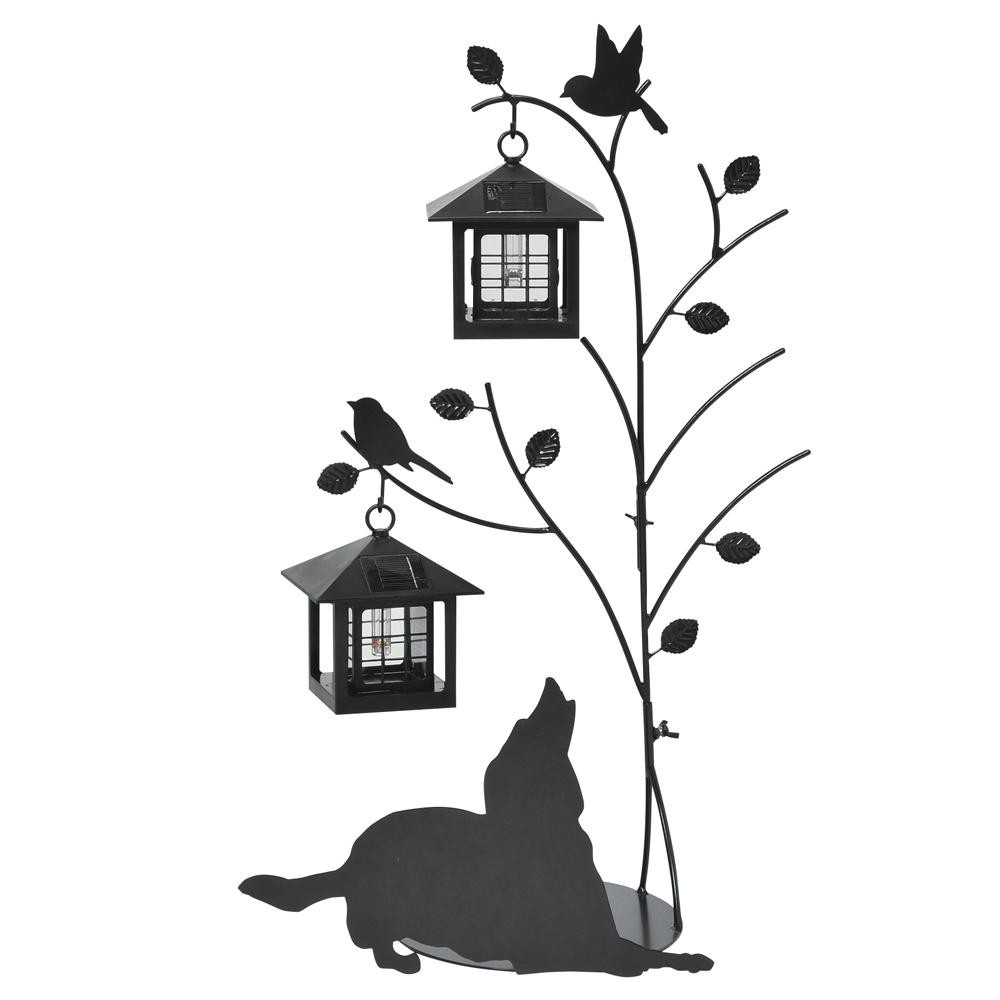 置物 ライト ランタンセトクラフト シルエットソーラー(Tree&Dog)2灯 SI-1955-1300【送料無料】