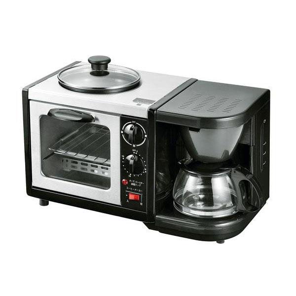 時短 多機能 朝ごはんモーニングトリオ(トースター+コーヒーメーカー+焼きプレート) MT-3【送料無料】
