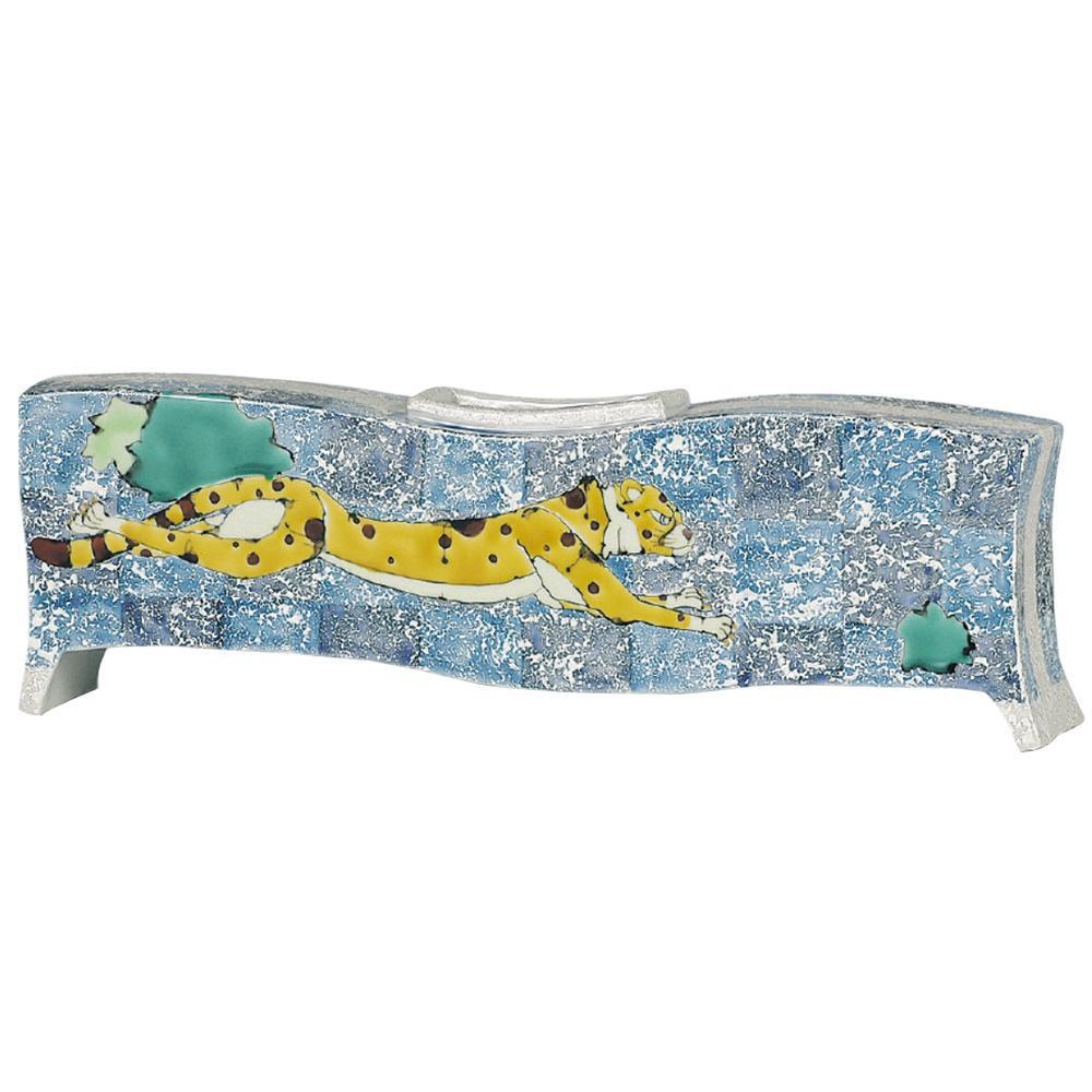 70%OFFアウトレット 九谷焼歴代画の一つ 山近泰の絵柄です 九谷焼 山近 泰 送料無料 チーター 扁壷 N111-08 上質