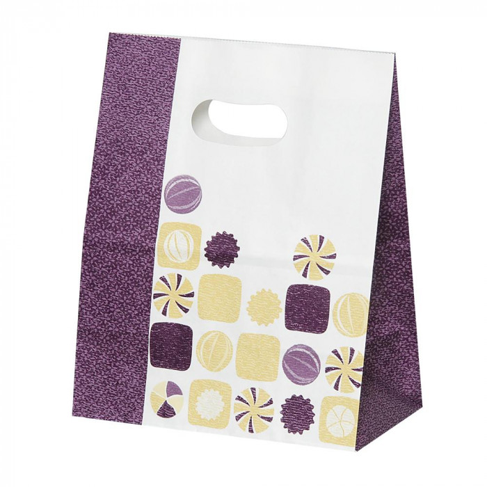 パックタケヤマ 紙袋 イーグリップ M 飴玉柄(小豆) 50枚×10包 XZT52020【送料無料】