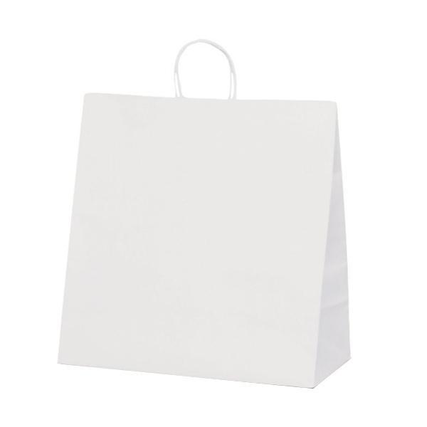 T-15W 自動紐手提袋 紙袋 紙丸紐タイプ 450×220×460mm 200枚 白無地 1298【送料無料】