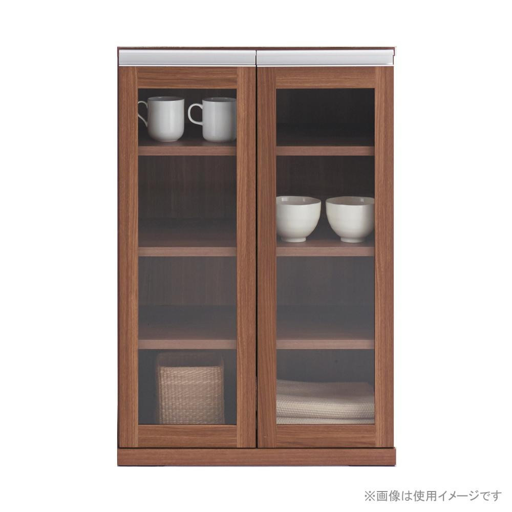 HYBRID CABINET ガラス戸キャビネット リアルウォールナット柄 MYD-60G【送料無料】
