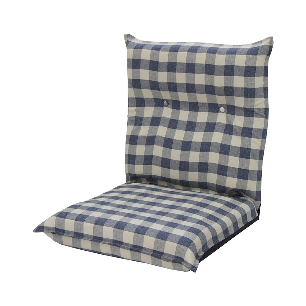 低反発ワイド座椅子 カントリーチェック ブルー【送料無料】