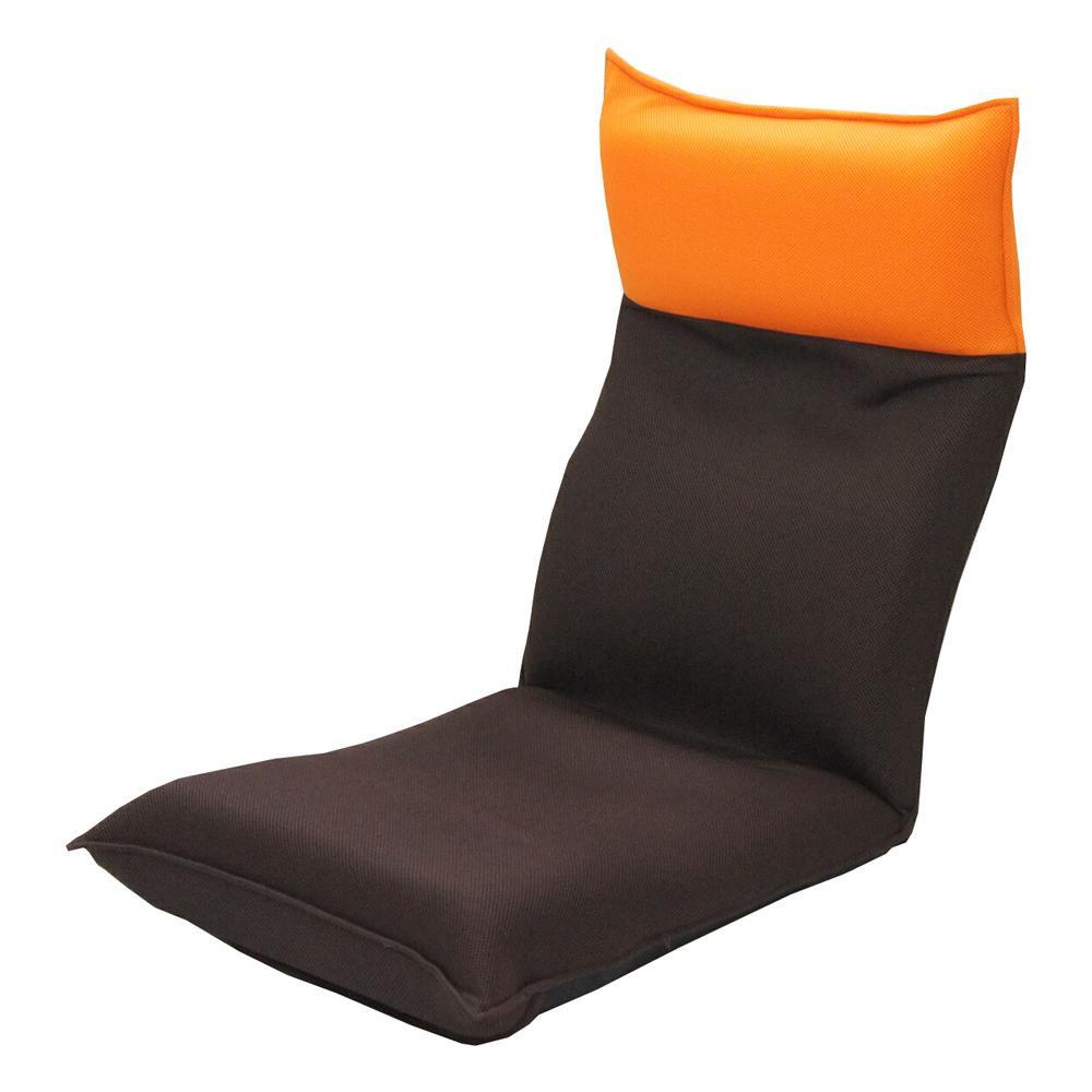 ヘッドリクライニング メッシュ座椅子 オレンジ×ブラウン【送料無料】
