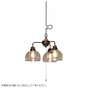 ペンダントライト キグナス 透明鉄鉢・3灯用CP型BK (電球なし) GLF-3524BKX【送料無料】